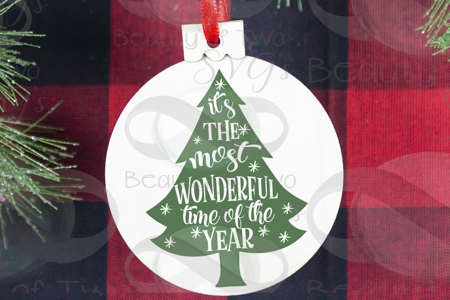 Christmas Ornament svg, Most wonderful time of year tree svg example image 3