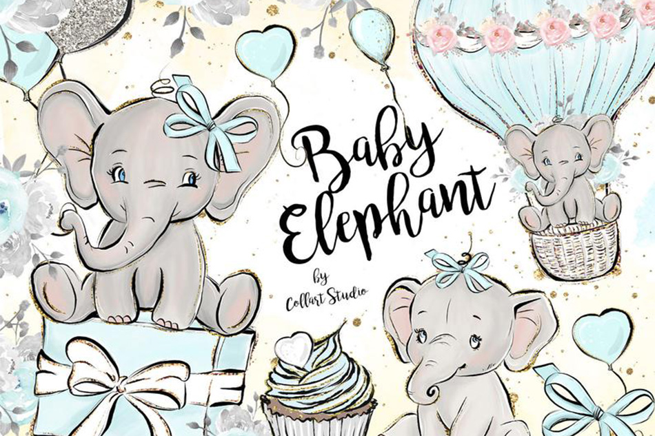 Baby Elephant clipart, Baby boy clipart, birthday clipart example image 1