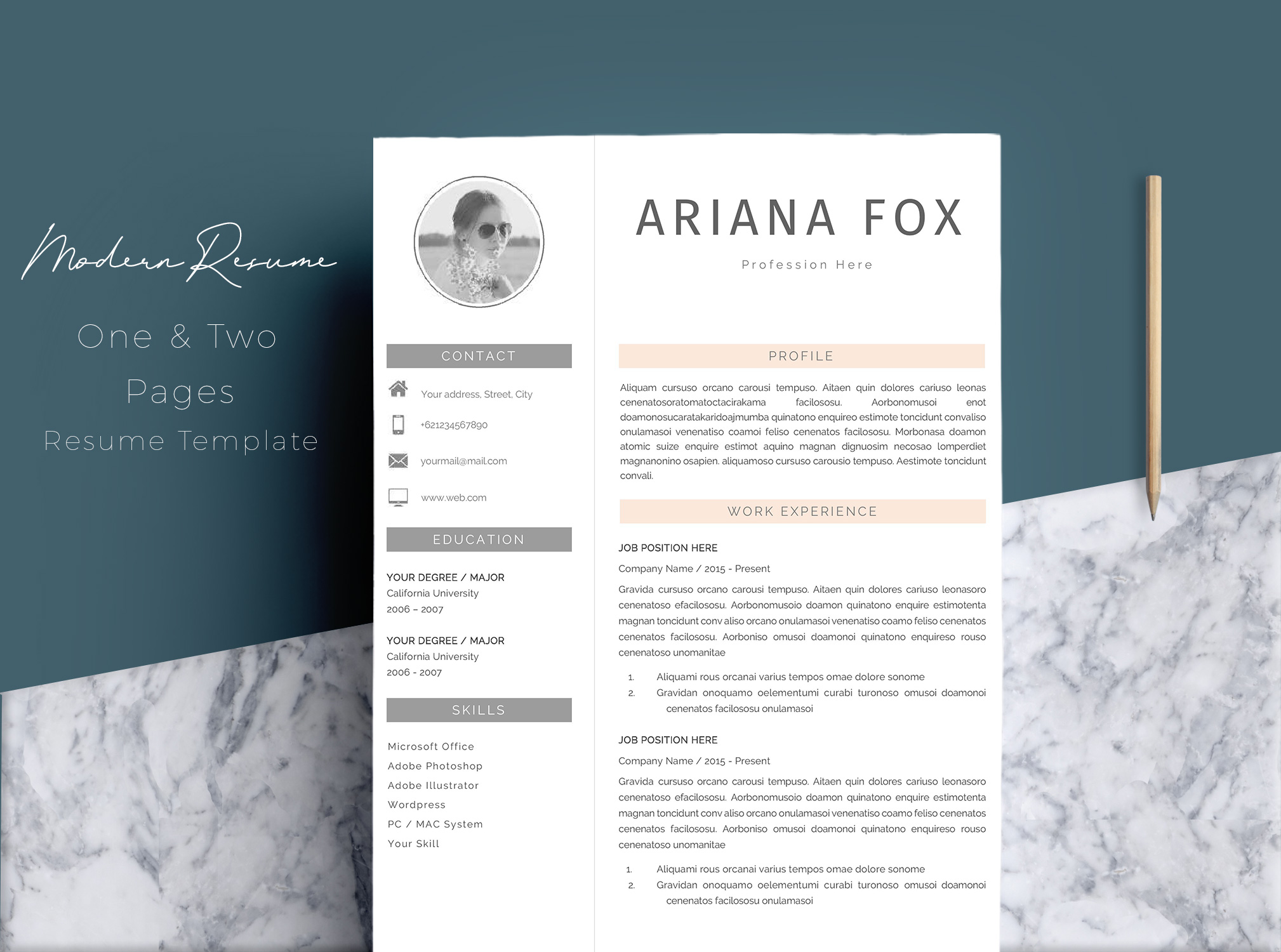 Creative Chic Resume Template Design example image 1