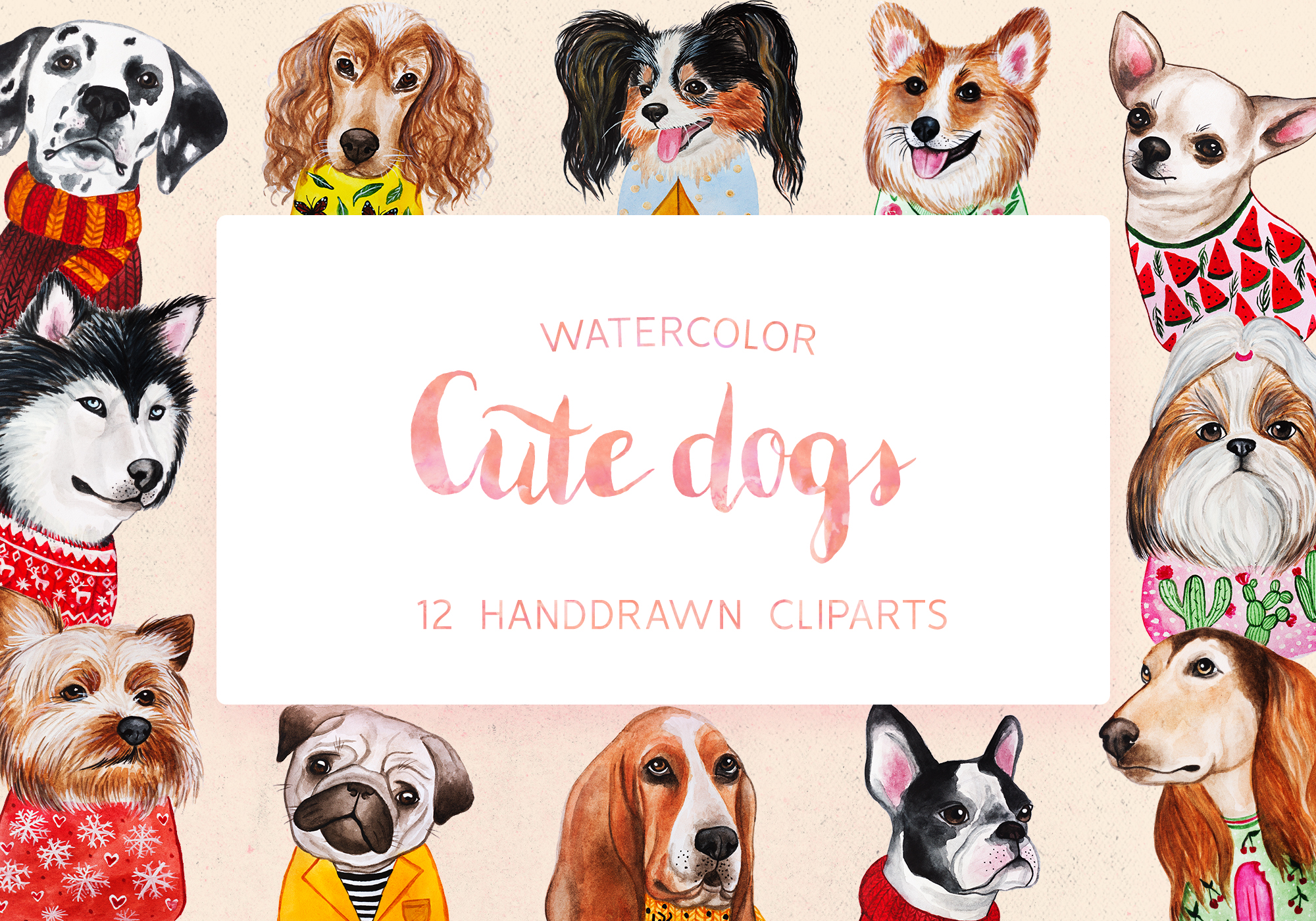 Watercolor Cute Dogs+Calendar example image 1