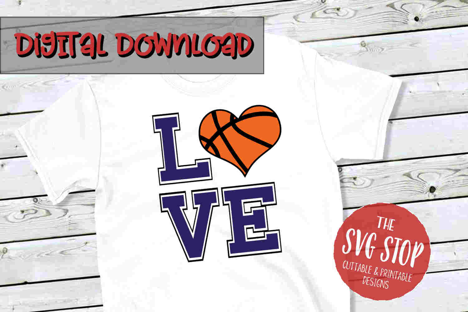 Love Heart Basketball-SVG, PNG, DXF example image 1