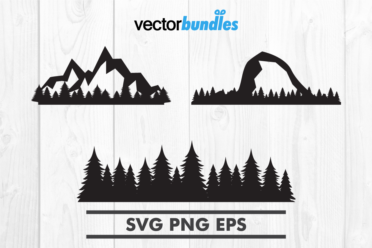 Mountain forest clip art svg example image 1