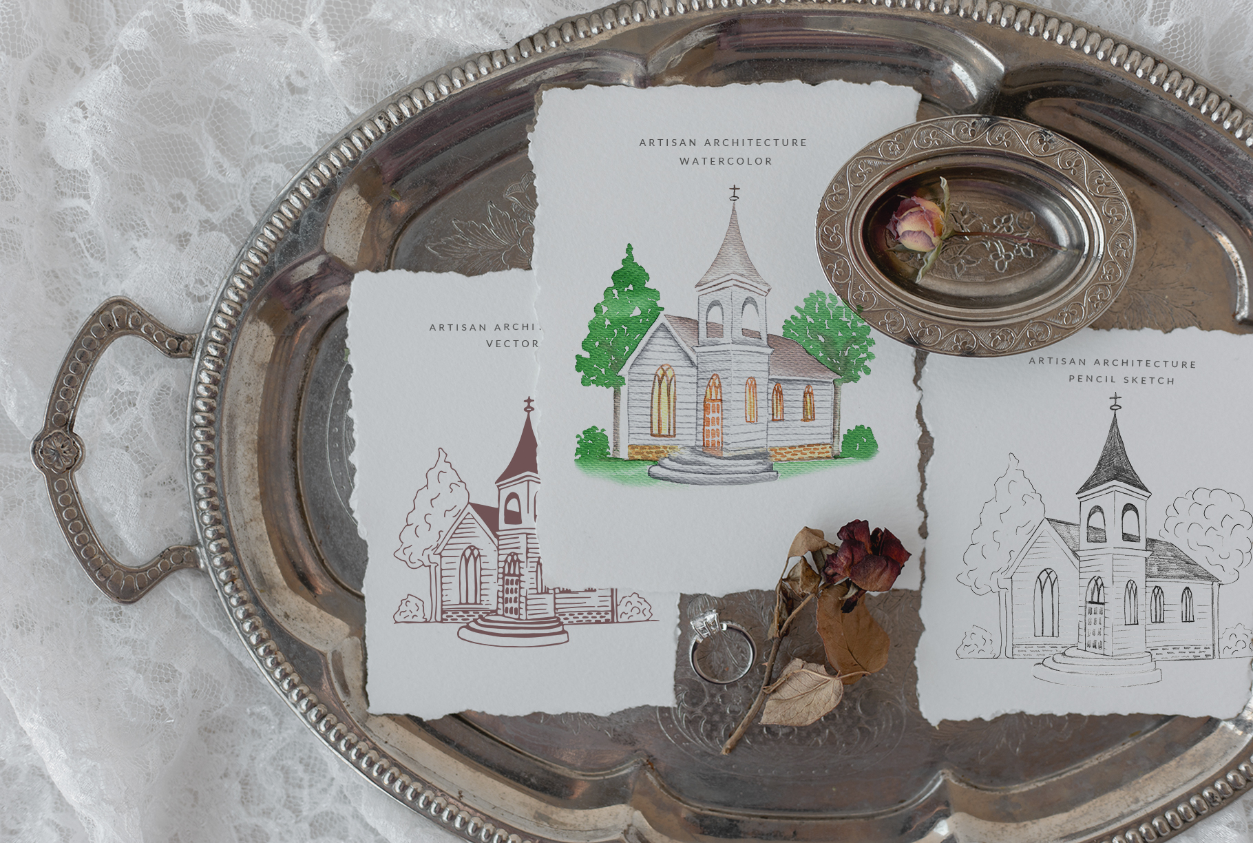 Venues Houses Watercolor , Sketch , Vector Graphics example image 2