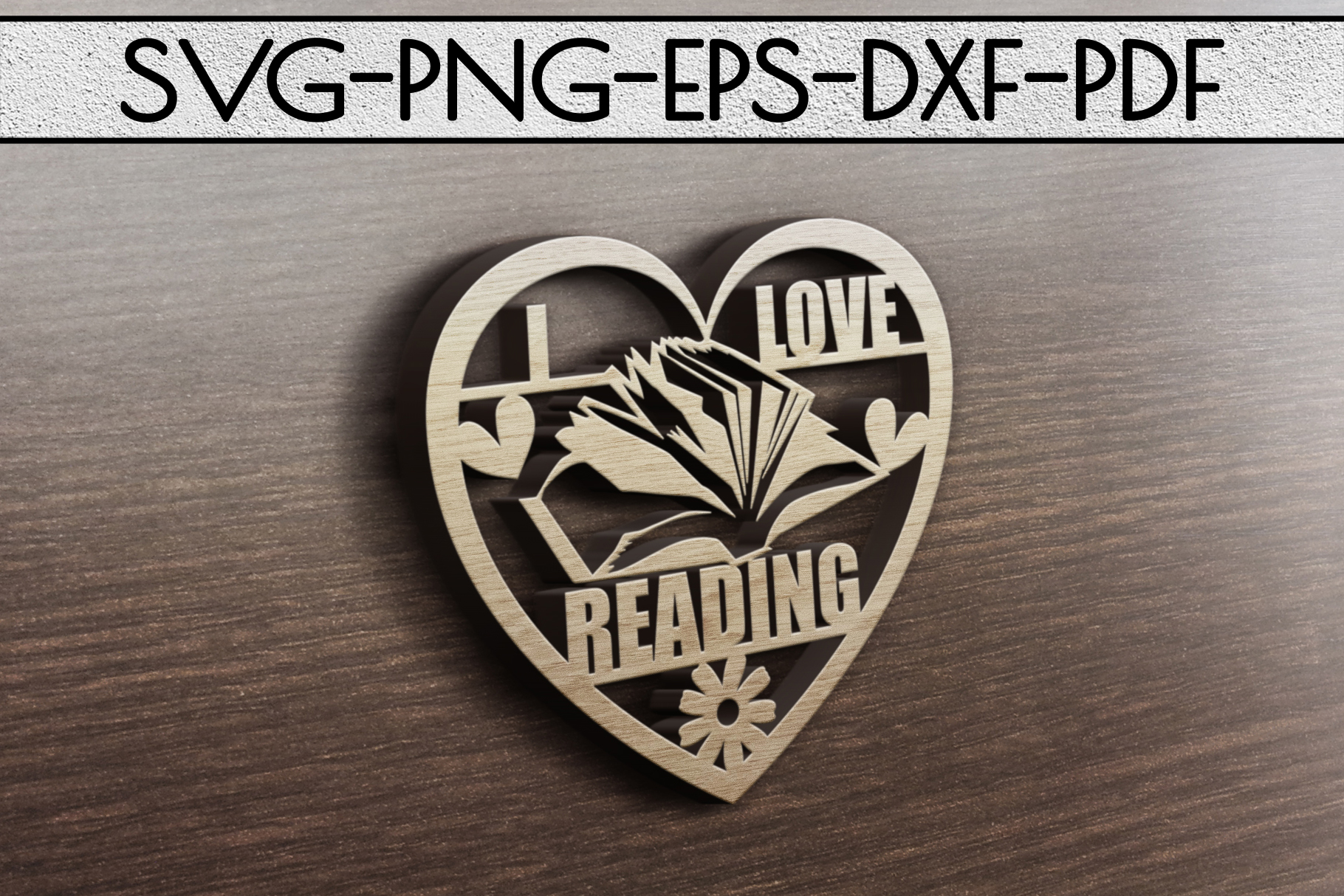 I Love Reading Papercut Template, Bookworm Cut Files, SVG example image 3