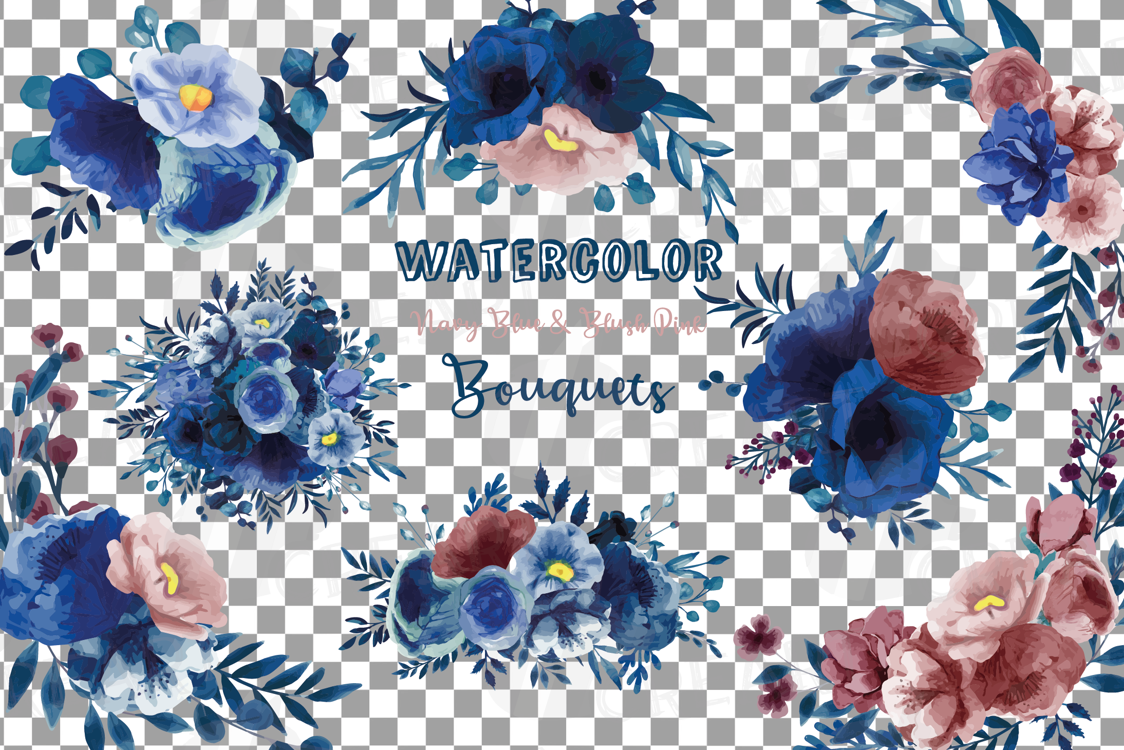 Navy blue and blush pink floral watercolor bouquets clip art example image 2