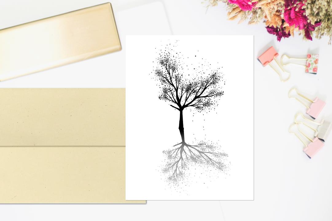 Black Tree Ink Art, A1, SVG example image 4