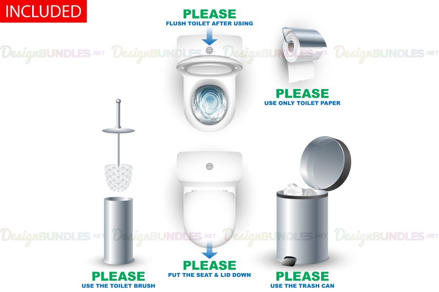 Vector Toilet Bowl Closet Bathroom Rules Warning Set Example Image 4
