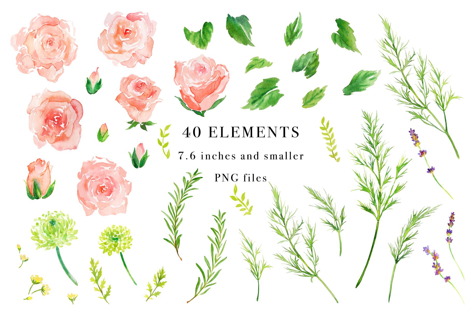 Floral Watercolor Bundle example image 25