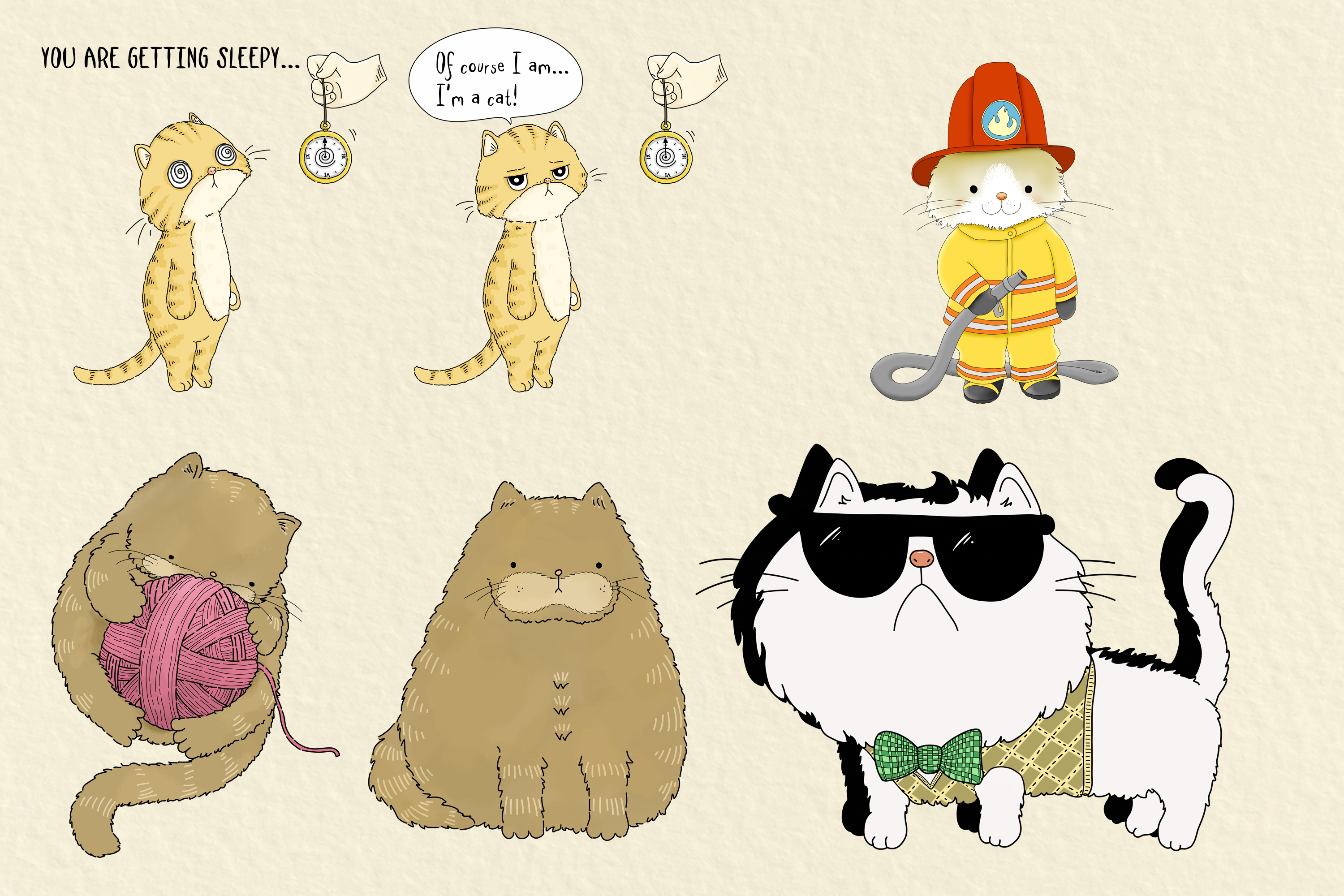 CATS | 20 Assorted PNG Clip Art Illustrations example image 3