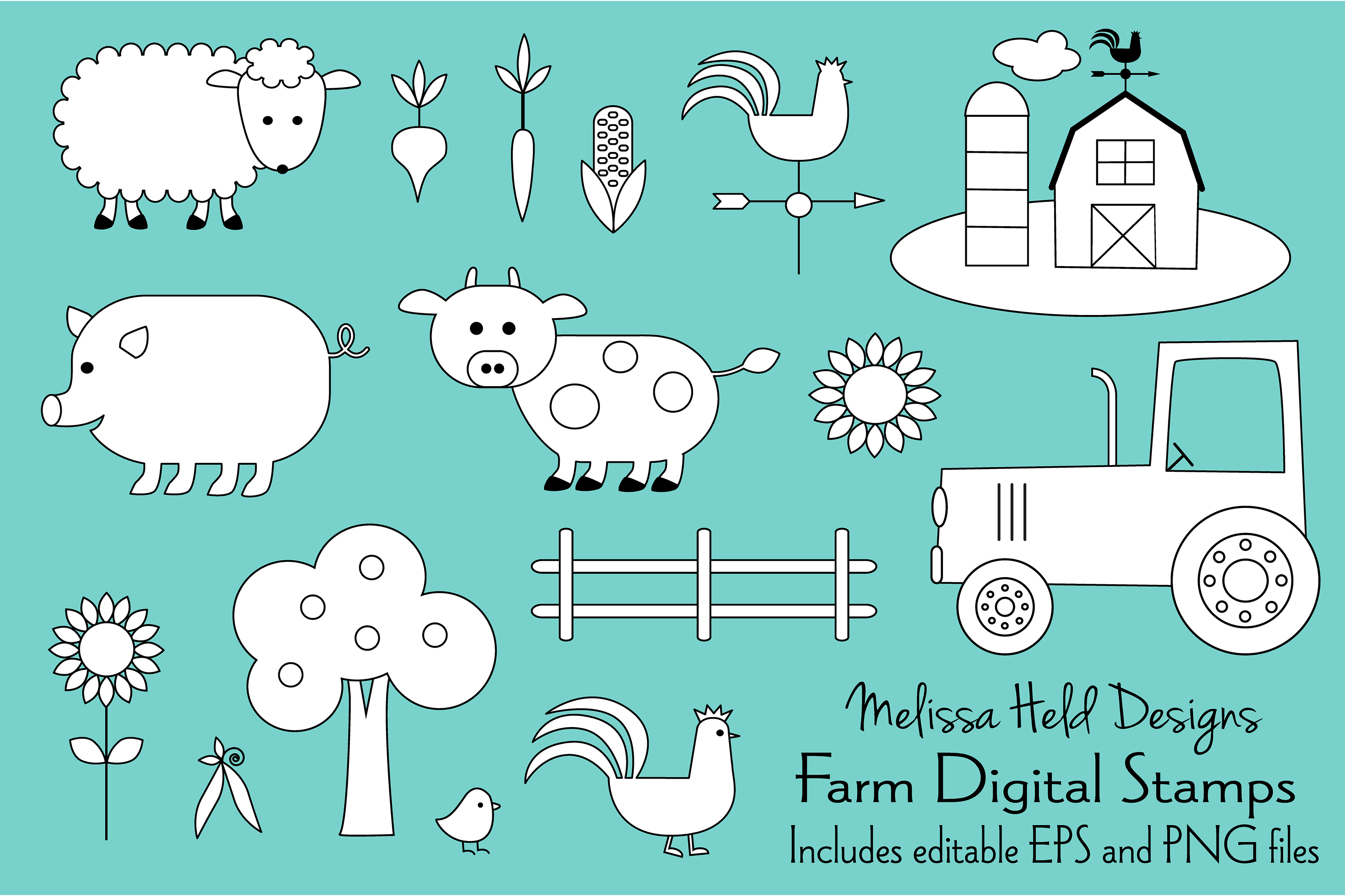 Farm Animals Digital Stamps Clipart example image 1