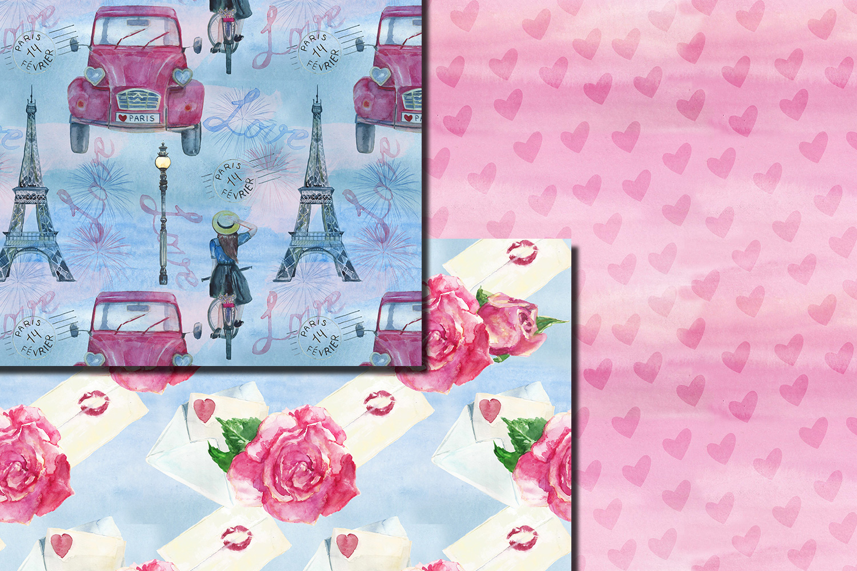 Watercolor Bonjour Paris seamless digital paper pack example image 6