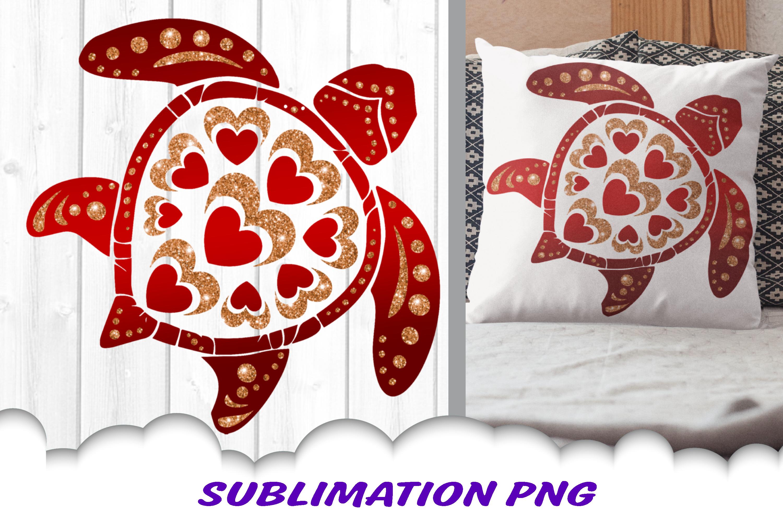Valentine Mandala Turtle Glitter Sublimation PNG Bundle example image 2