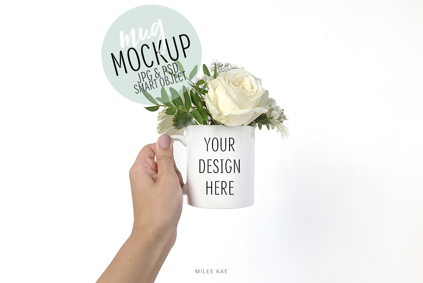 White coffee mug mockup, JPG & PSD example image 1