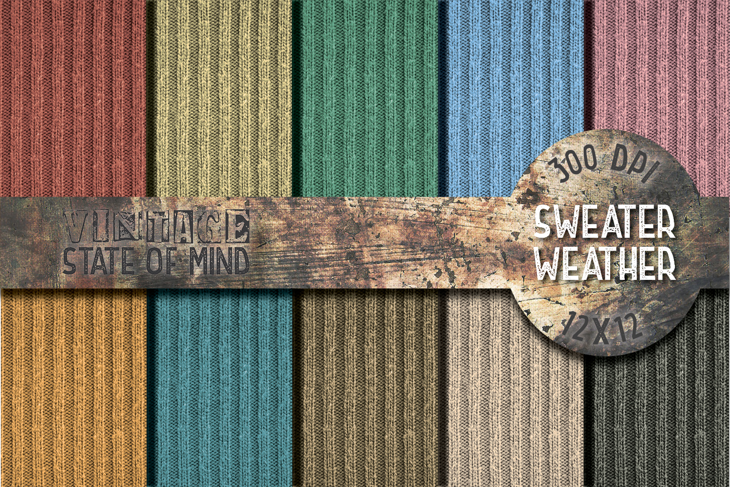 Sweater Weather Digital Papers example image 1