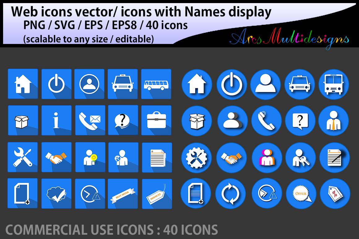 web icons vector / commercial use / SVG / png/ icons with name / vector icons / web cool icons / home icon example image 2