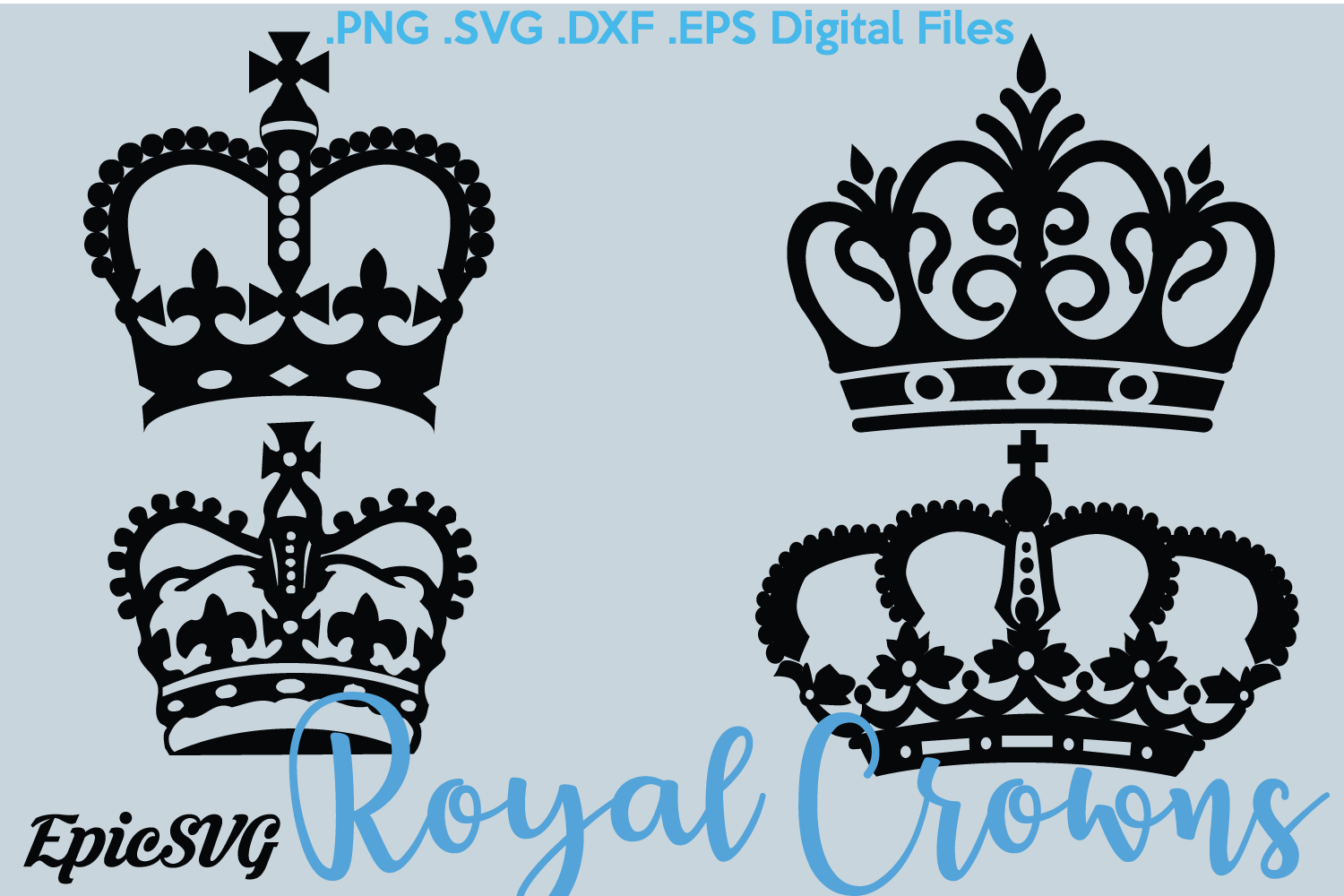 Royal Crowns | SVG EPS DXF | crowns clipart digital download vector files stencil file svg, png, dxf, eps Silhouette Cameo Cricut example image 1