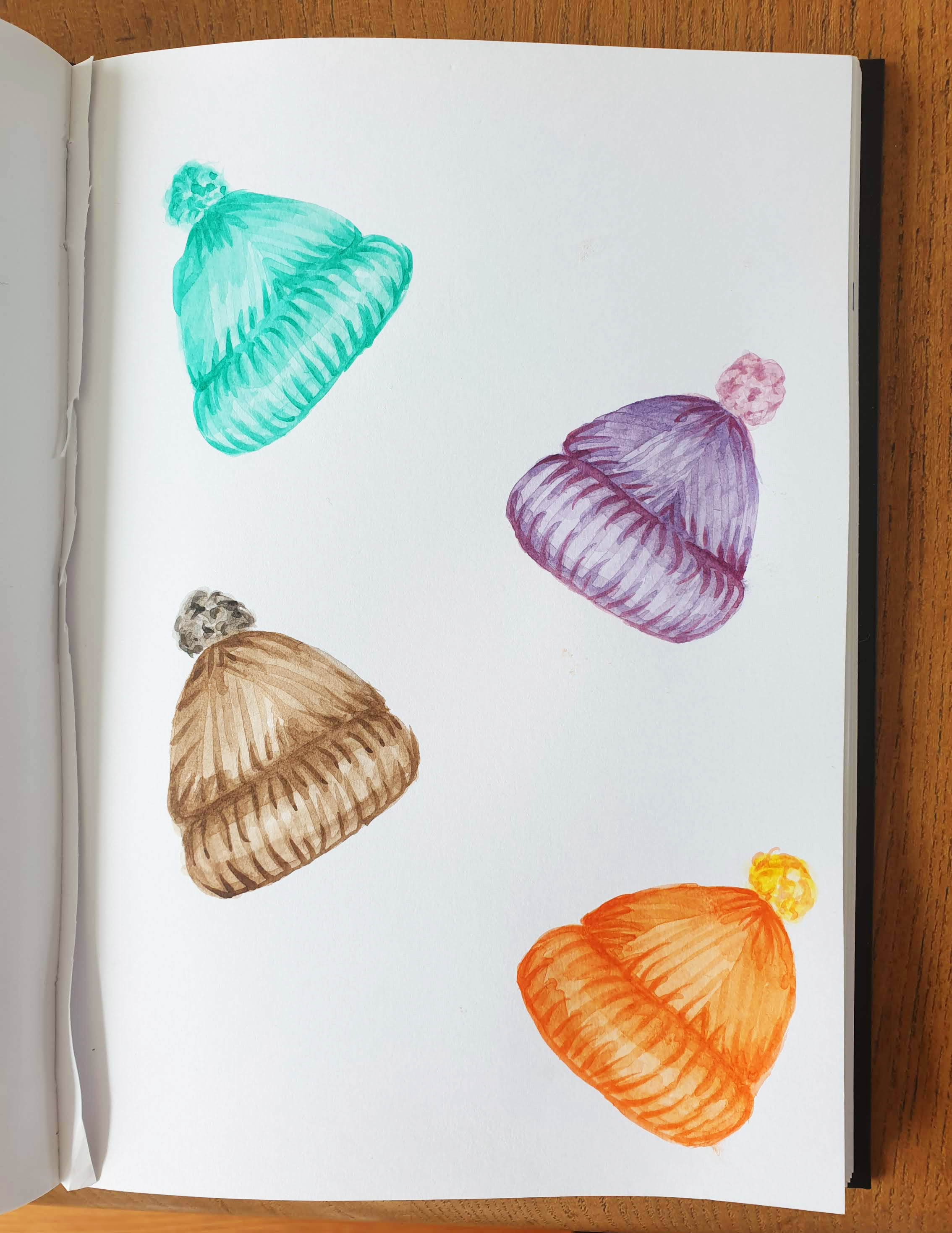 Watercolour woolly hats clip art set example image 2