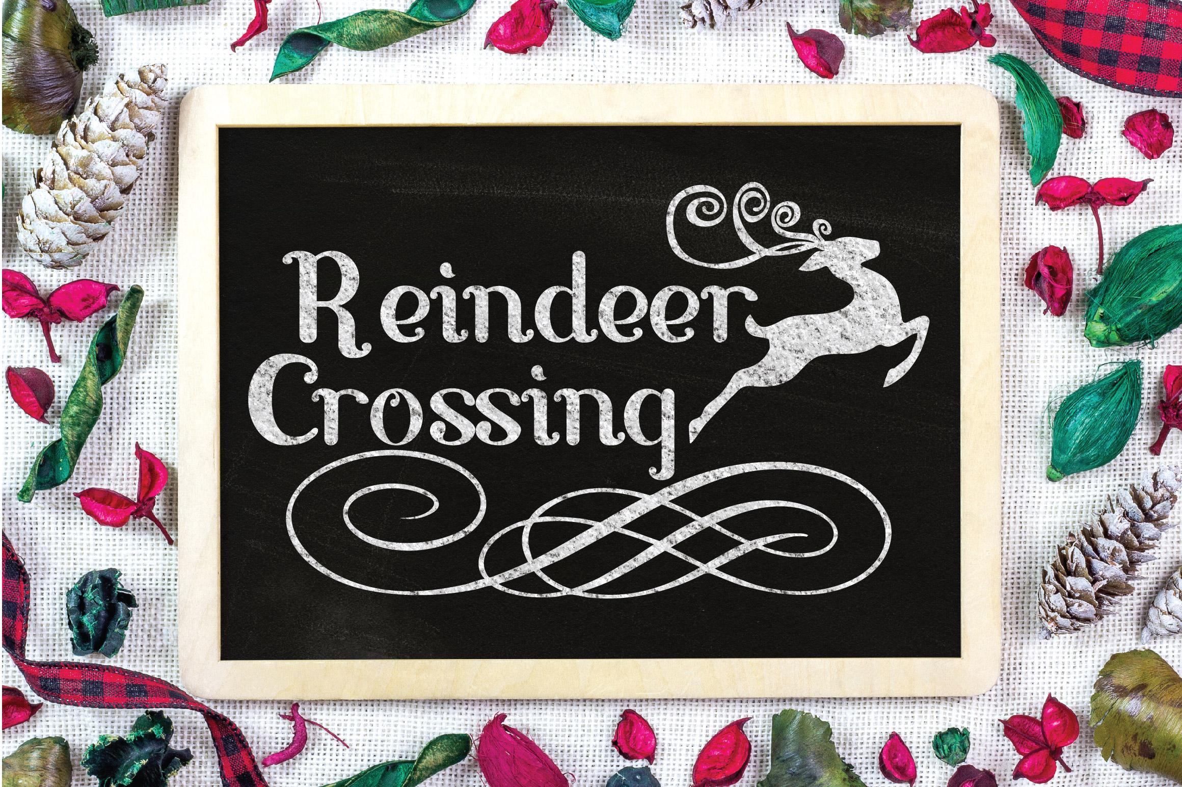 Christmas SVG Cut File - Reindeer Crossing SVG DXF PNG EPS example image 4