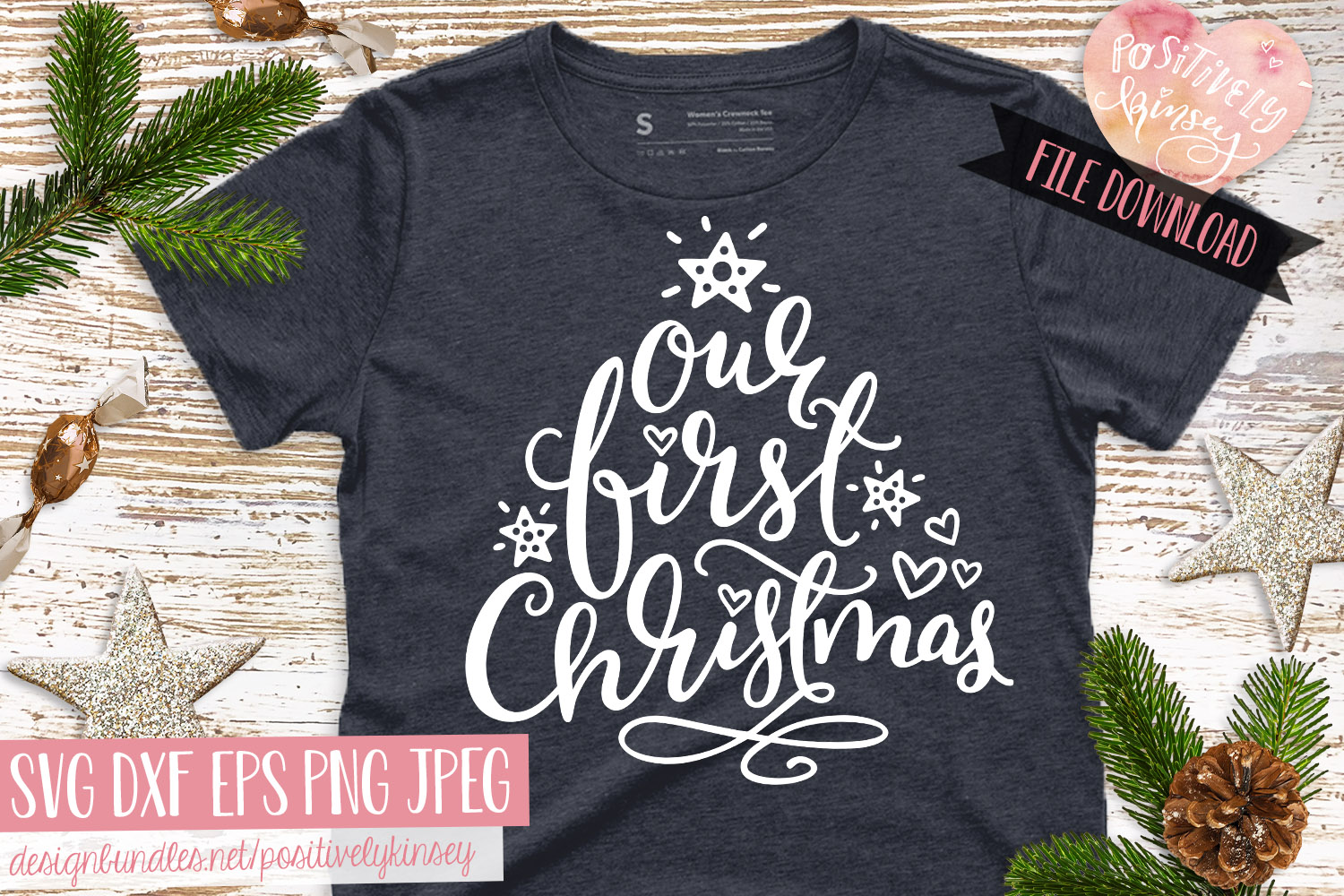 Family Christmas Quote SVG DXF PNG EPS Our First Christmas example image 3