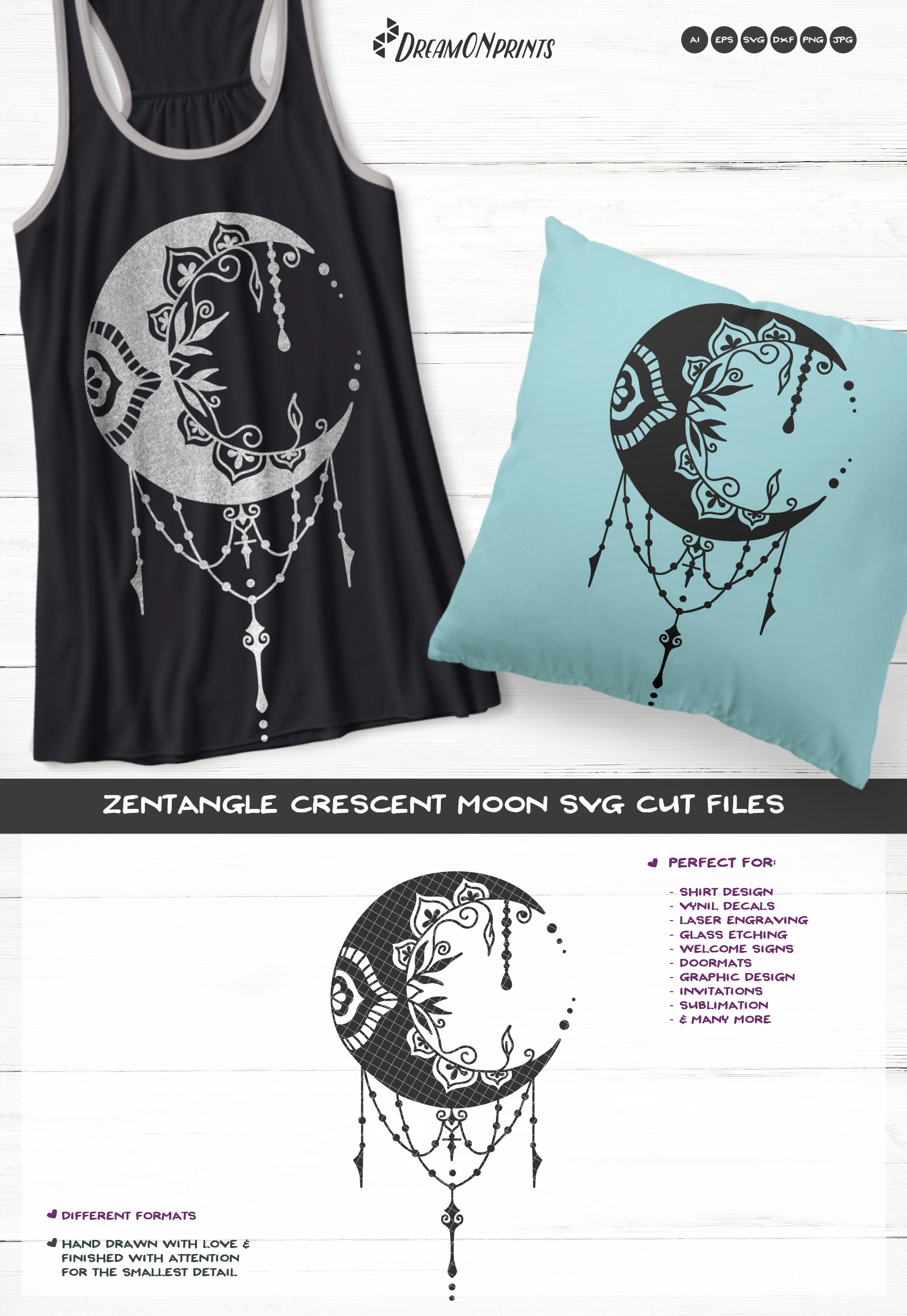 Crescent Moon SVG | Halloween SVG Cut File example image 3