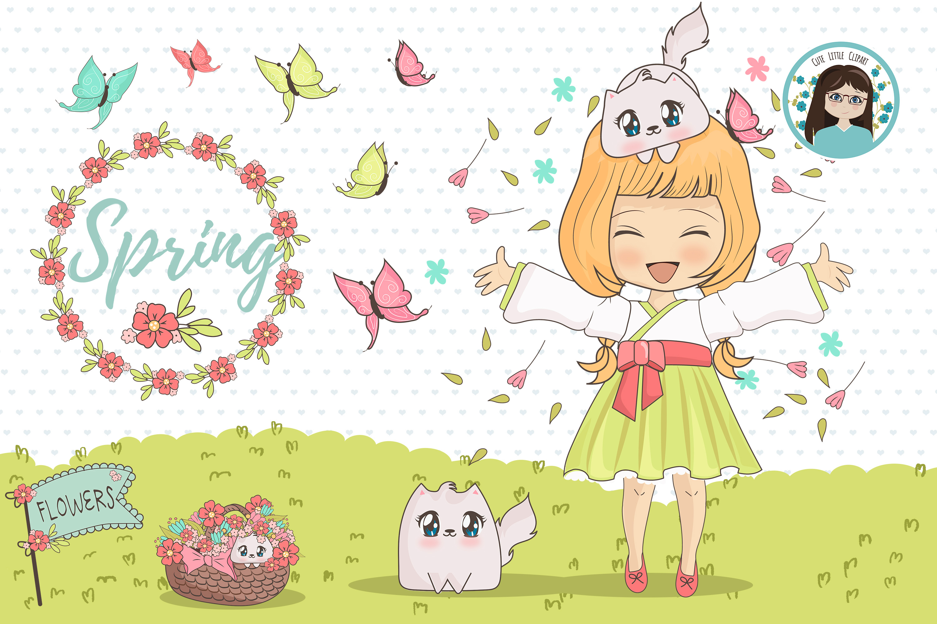 Spring chibi characters example image 2