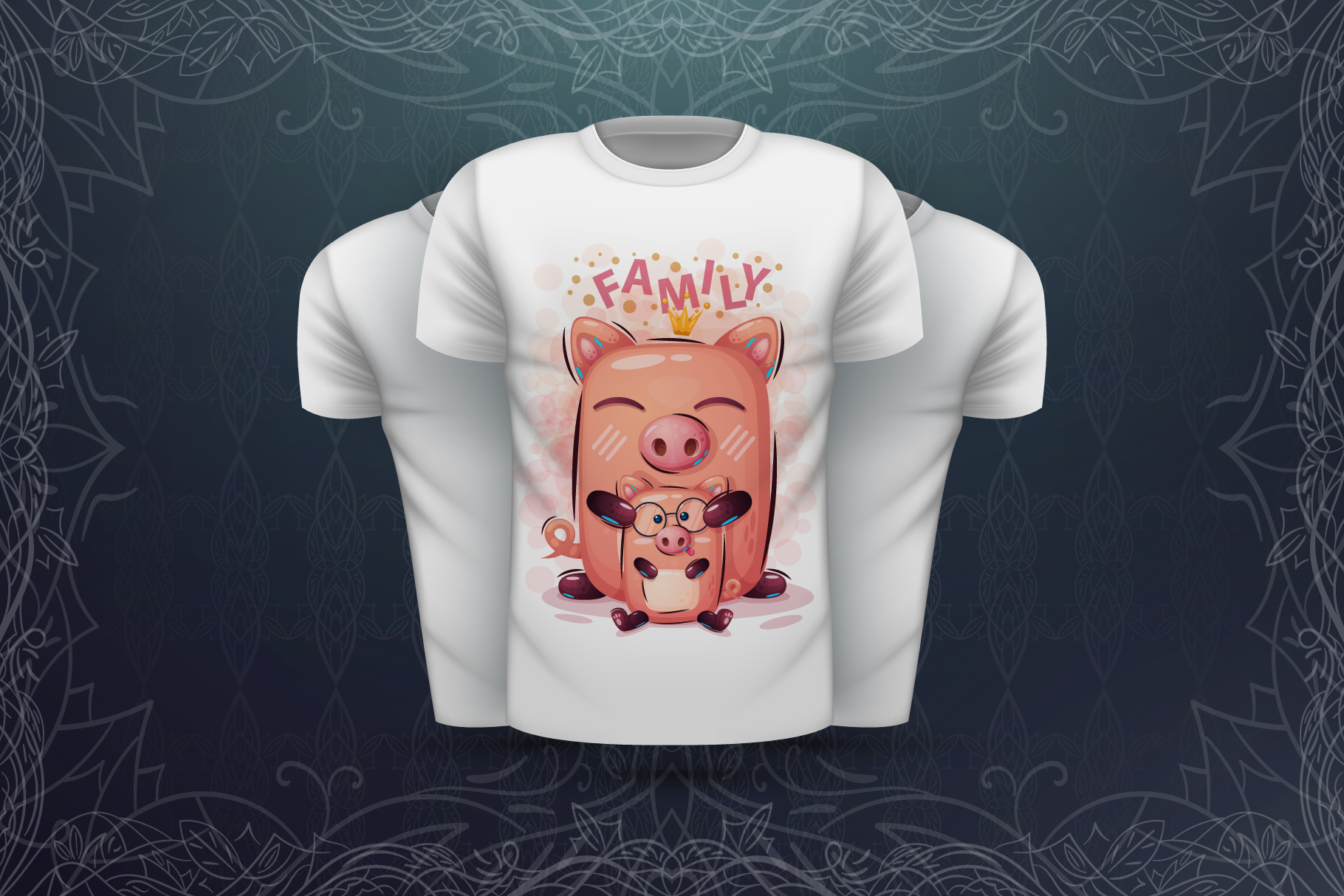 Set cute pig - for print t-shirt example image 2