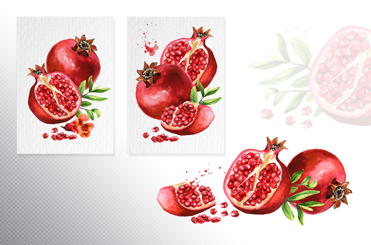 Pomegranate. Watercolor collection example image 2