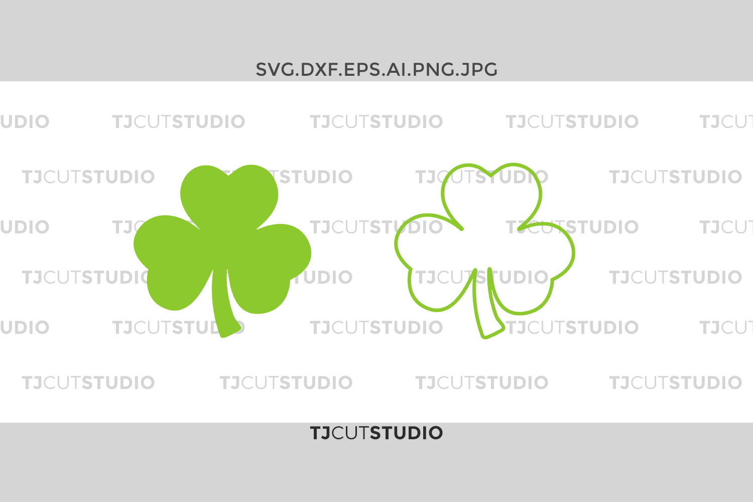 Shamrock monogram svg, Shamrock Outline, clover Outline svg, Svg Files for Silhouette Cameo or Cricut, Commercial & Personal Use. example image 1