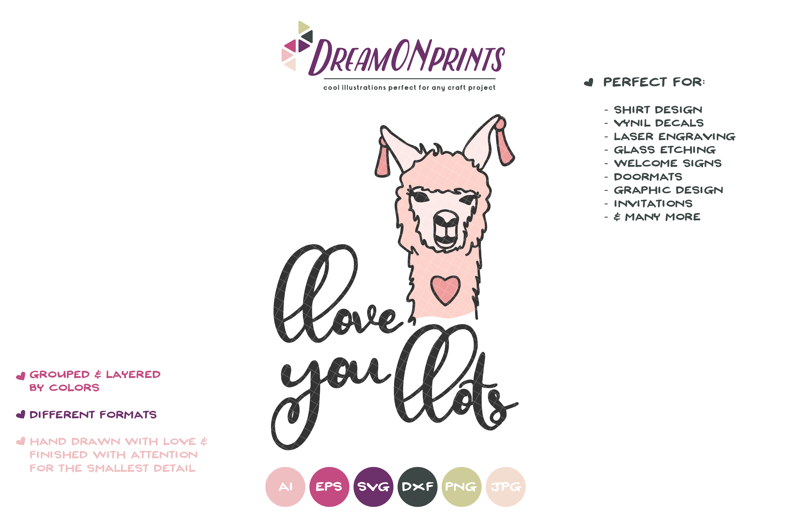 Love You Lots - A Fun Llama SVG example image 2