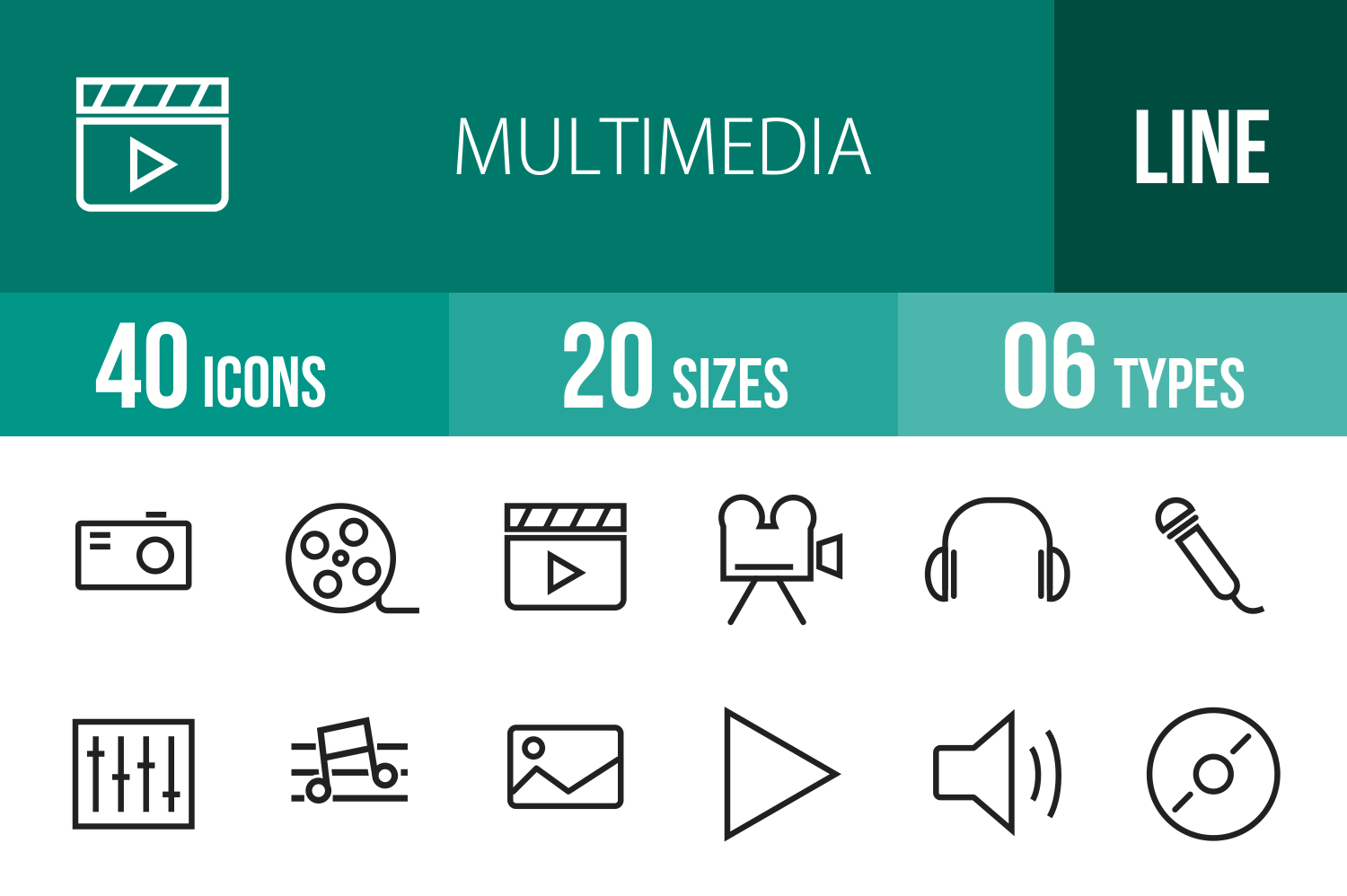 40 Multimedia Line Icons example image 1