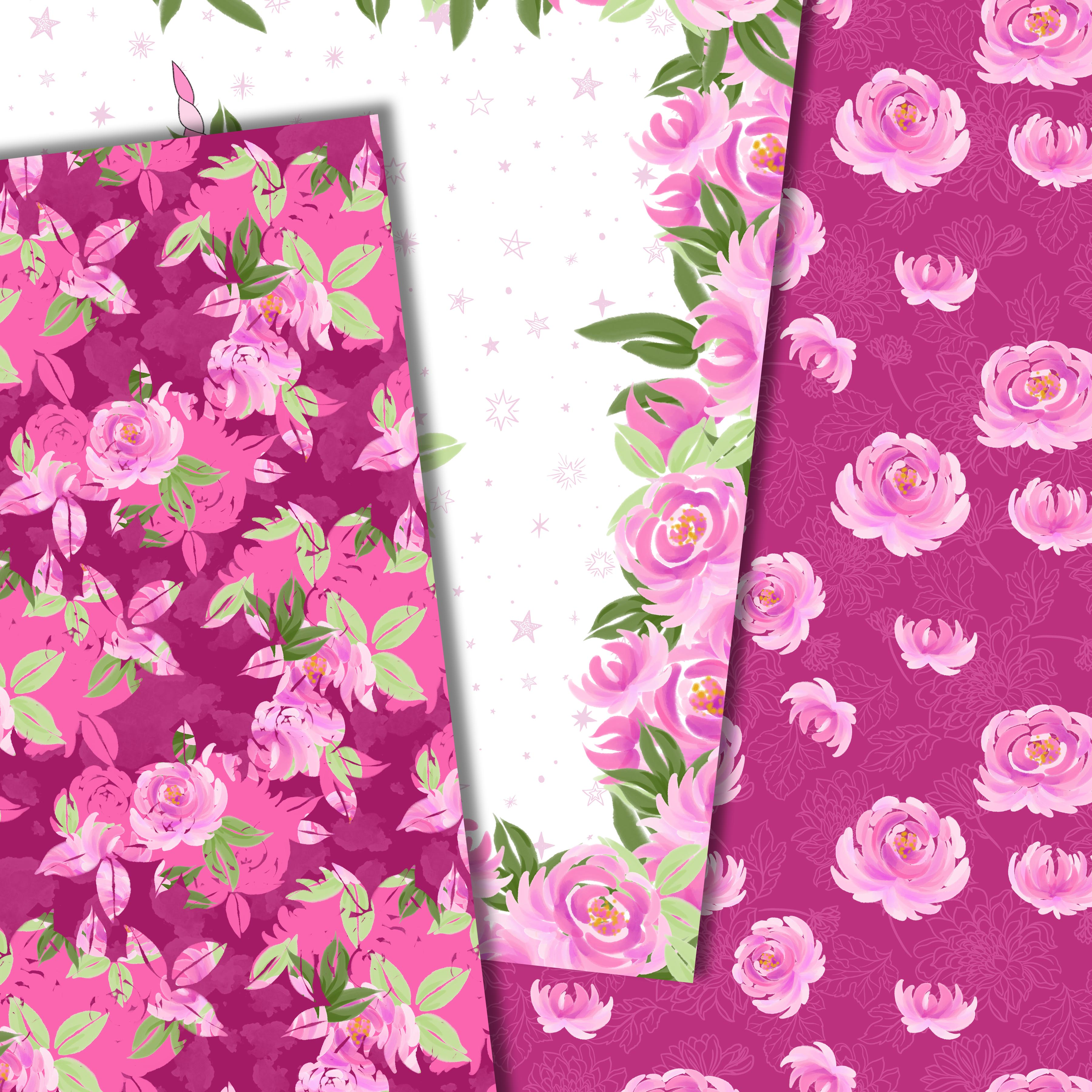 Unicorns and flowers in pink example image 4