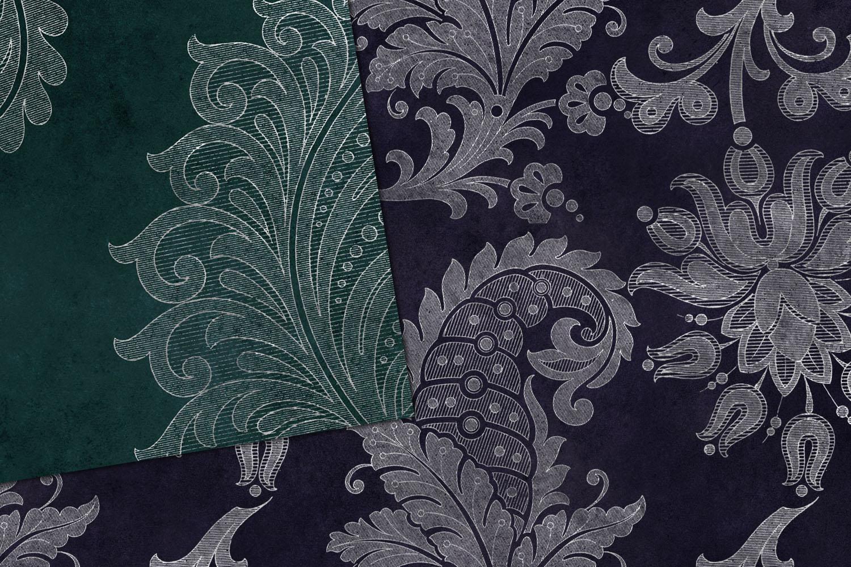 Silver Floral Velvet Digital Paper example image 2