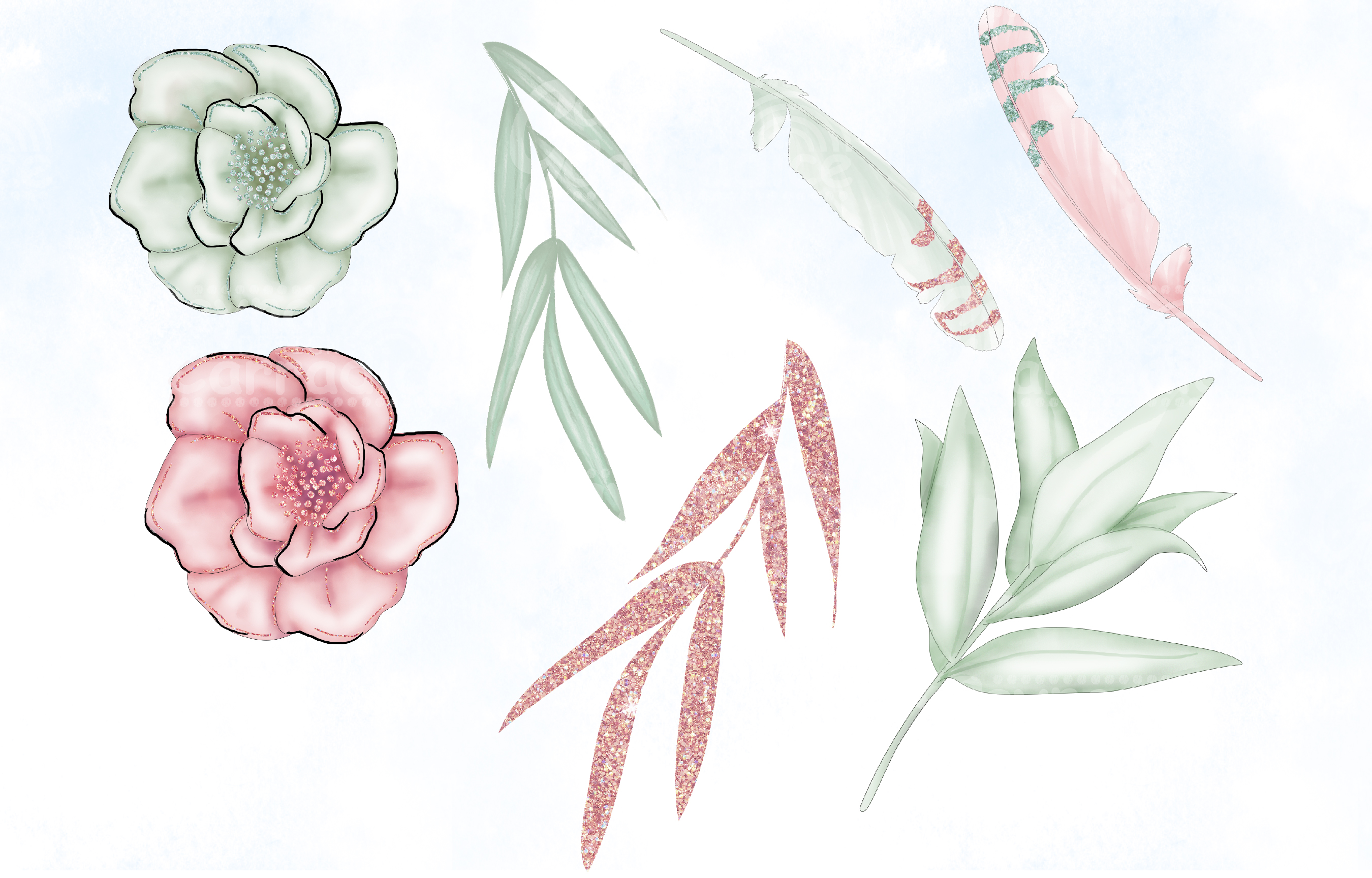 Blush & Sage Wedding clipart collection example image 2