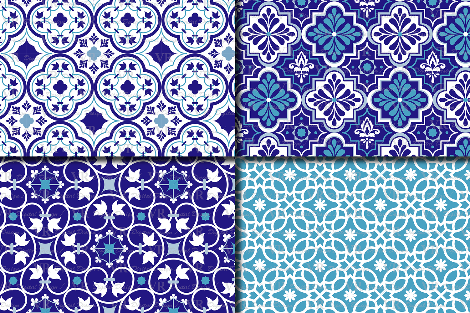 Blue Moroccan Digital Paper Pack / Blue Ethnic Tribal Geometric Ornamental Digital papers / Moroccan backgrounds / Scrapbooking Printable paper example image 2