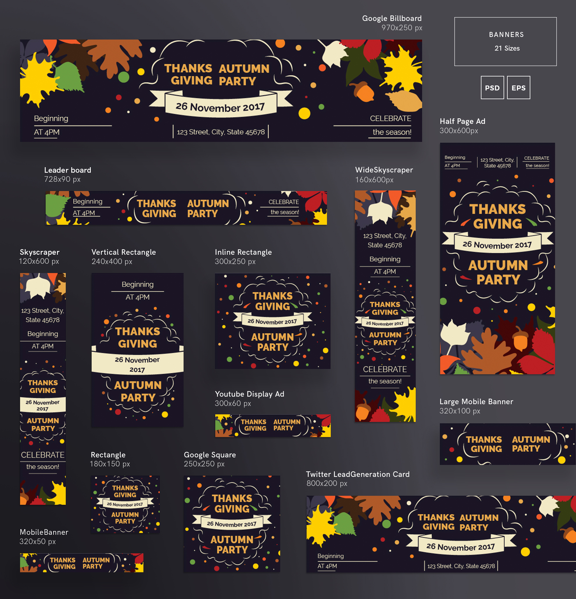 Thanksgiving Autumn Party Design Templates Bundle example image 5