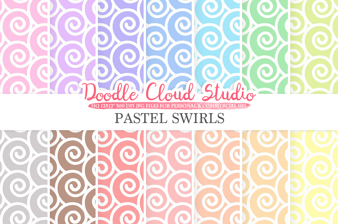 Pastel Swirls digital paper, Spiral pattern, Digital Swirls, pastel colors background, Instant Download for Personal & Commercial Use example image 1