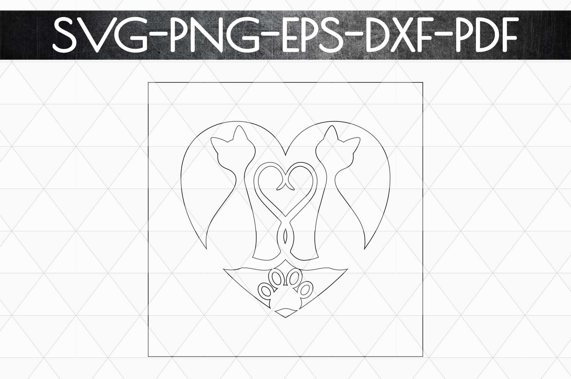 Cat In Love Papercut Template, Cat Lover Decor, SVG, DXF PDF example image 5