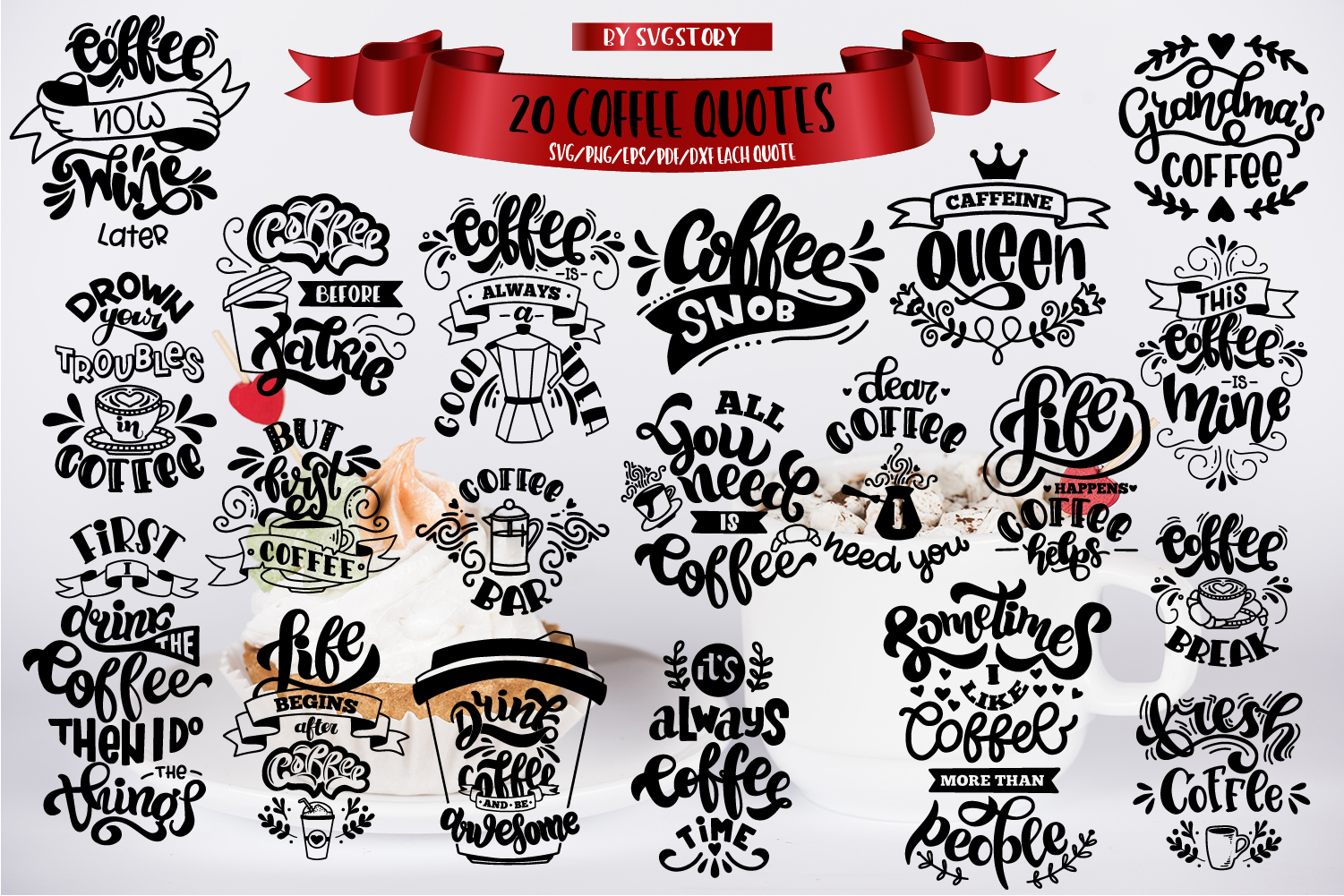 Coffee bundle svg Coffee lovers SVG for t-shirt Design example image 2