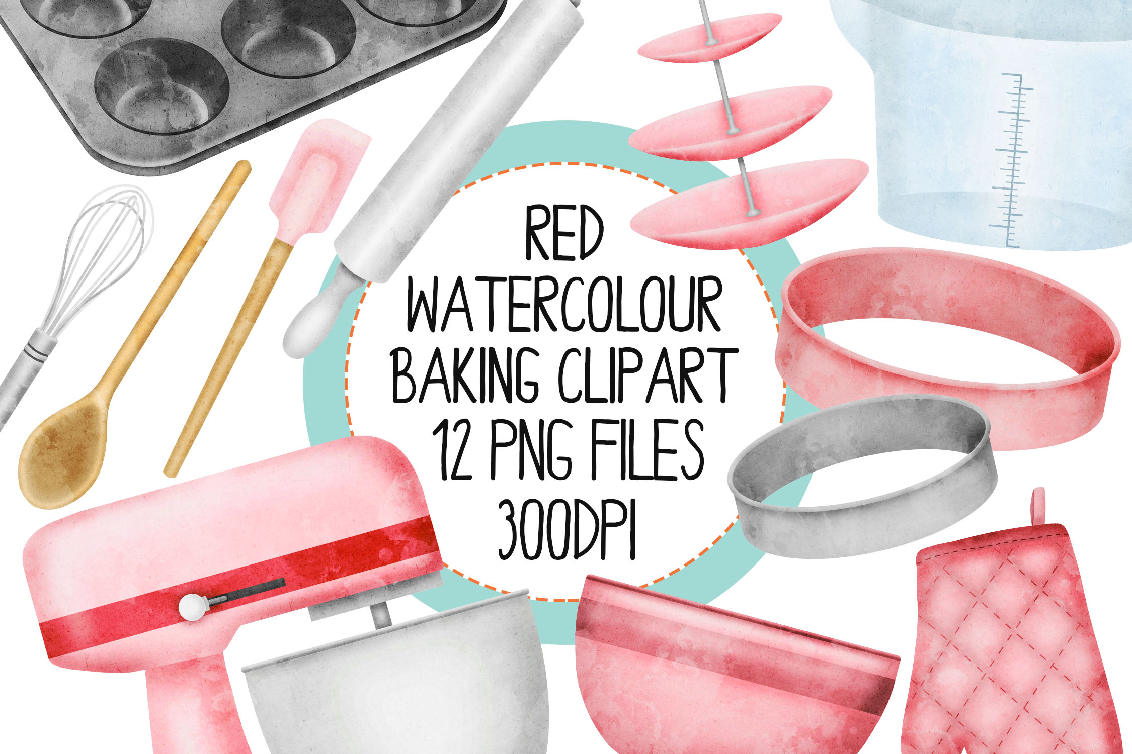 Red Watercolor Baking Clip Art Set example image 1