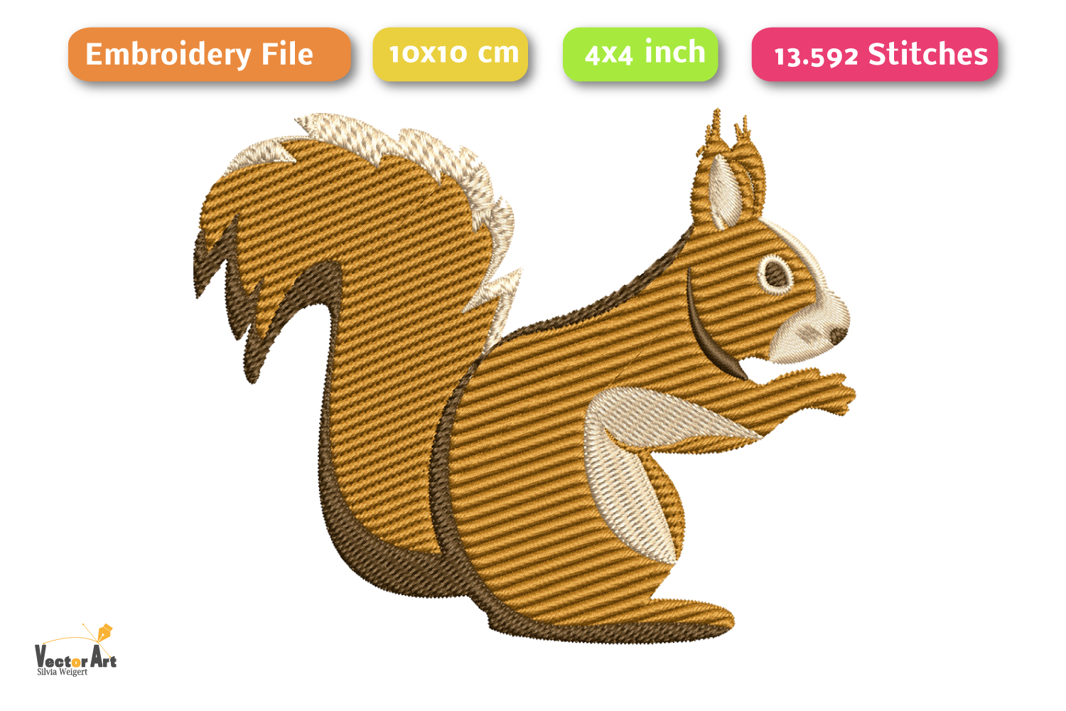 Squirrel - Embroidery File - 4x4 inch example image 2