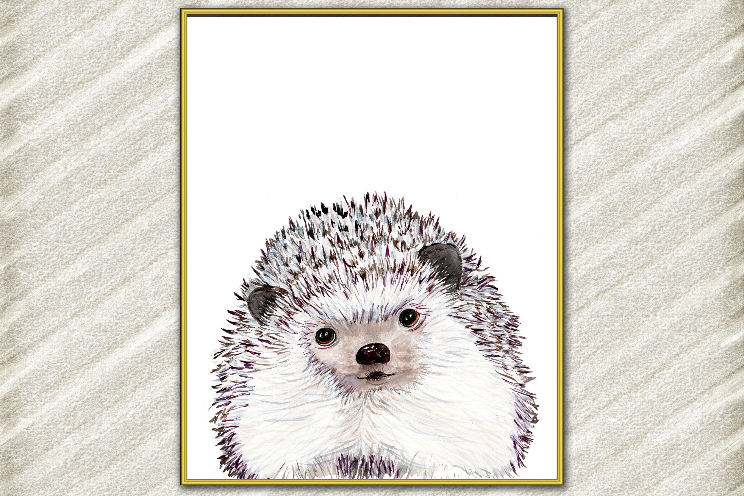 Watercolor Hedgehog digital print Woodland Nursery Art example image 2