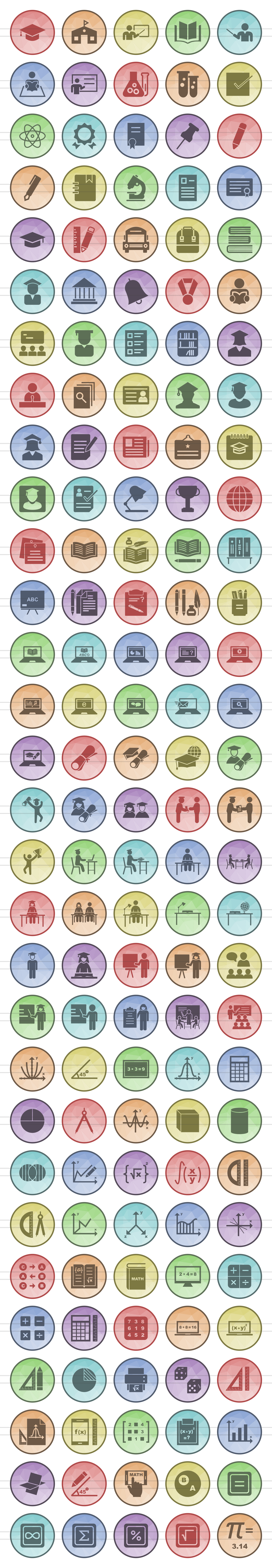 150 Academics Filled Low Poly Icons example image 2