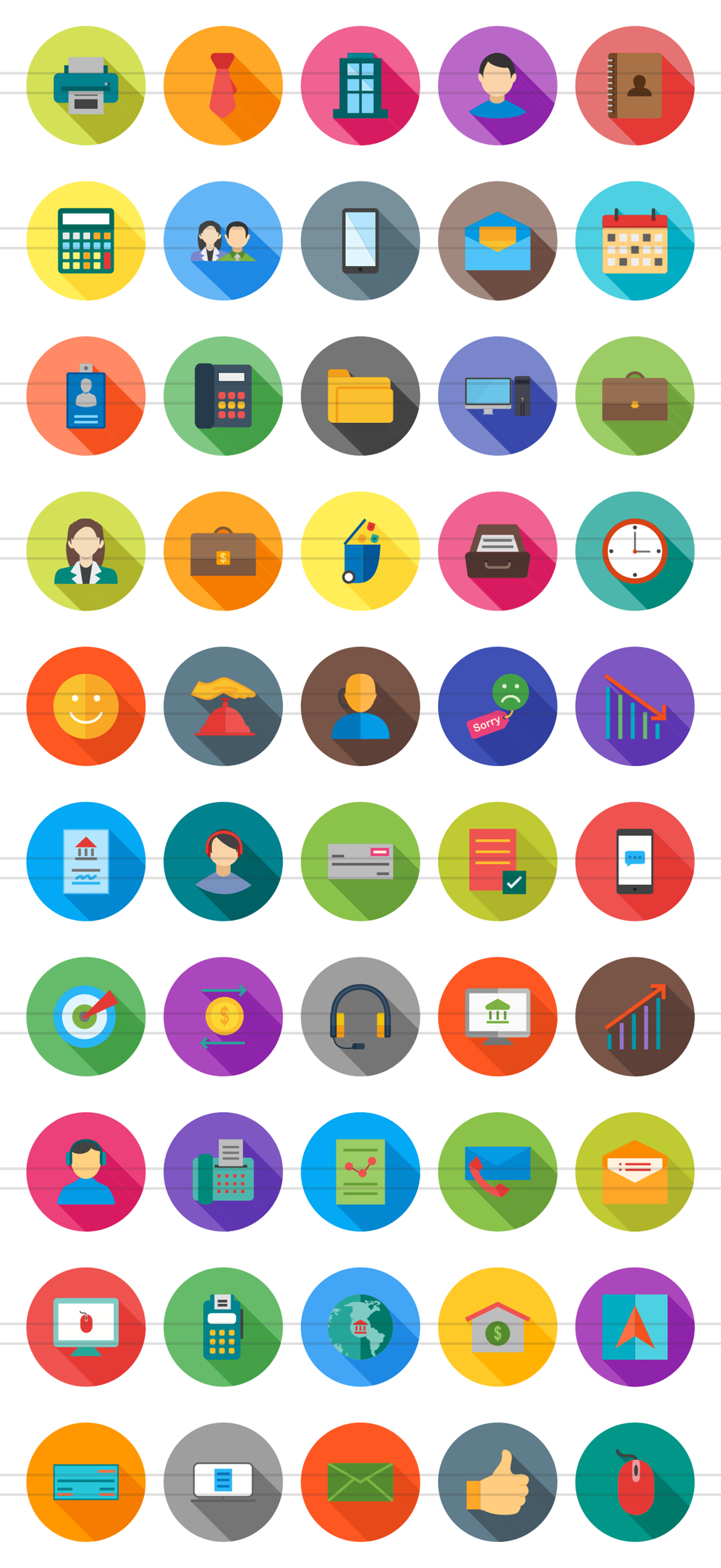 50 Business Flat Long Shadow Icons example image 2