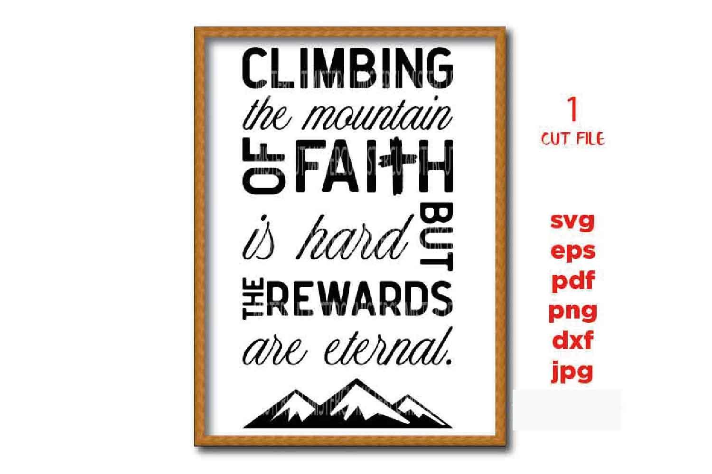 climbing the mountain of faith svg, faith svg, faith sign SV example image 1