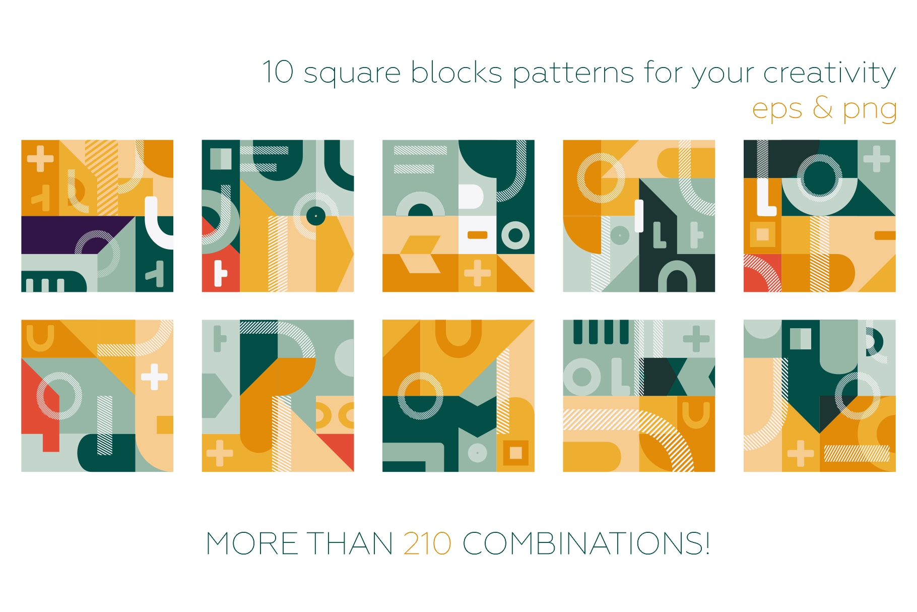 Square geometry pattern collection example image 8