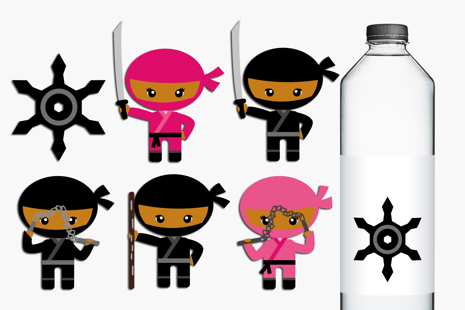 Dark Skin Ninja girls and boys illustrations example image 1