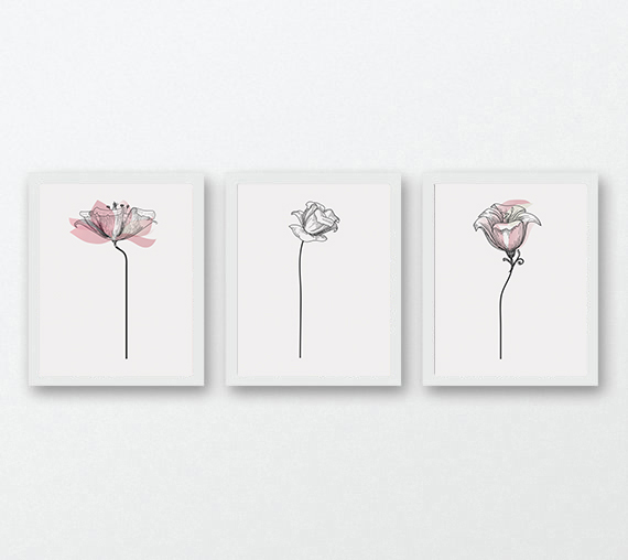 3 pink flowers wall design minimalist print for living room 3 pink flowers wall design minimalist print for living room example image 1 mightylinksfo