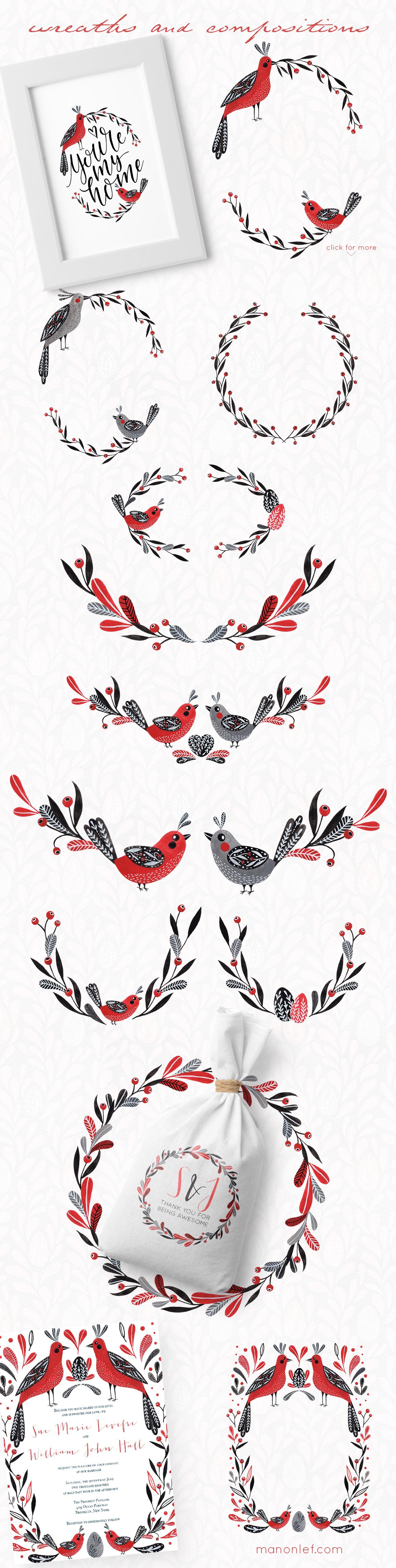 Lovebirds folk art bird illustrated collection example image 9
