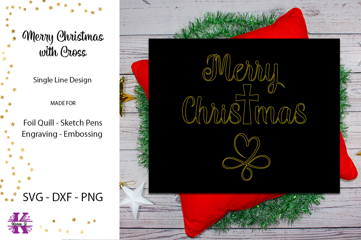 Merry Christmas with Cross for Foil Quill|Sketch Pen example image 2
