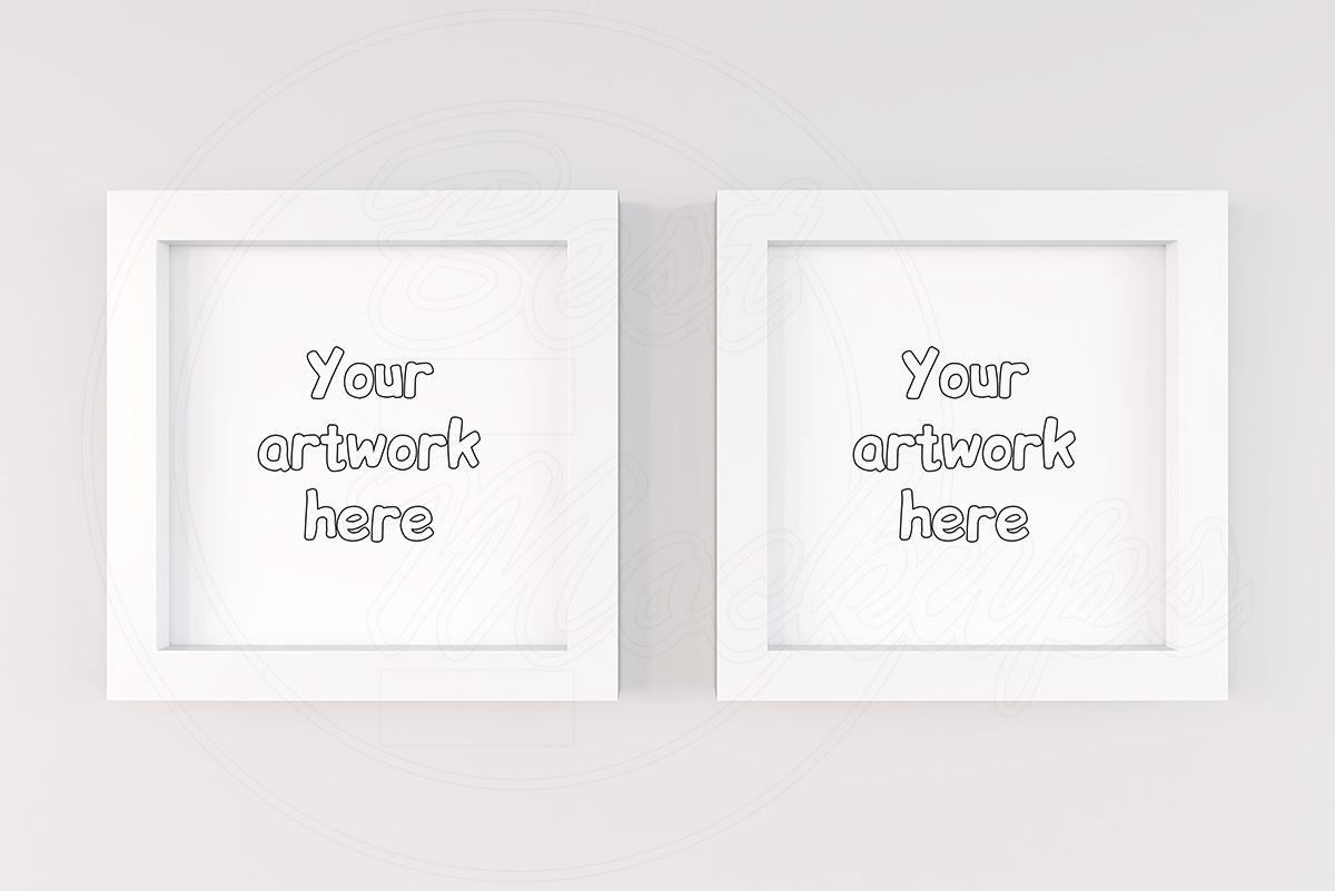 Modern white square frame mock ups example image 1